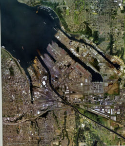 Port of Tacoma from the air, from brochure