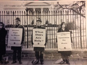 In front of the White House in DC in 197x with a Quaker group