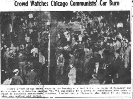 Crowd watches Chicago Communists' Car Burn