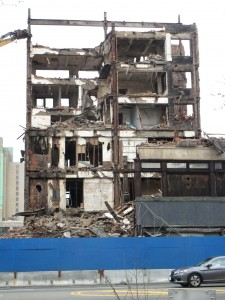 Demolition proceeds across from Military Park, Newark