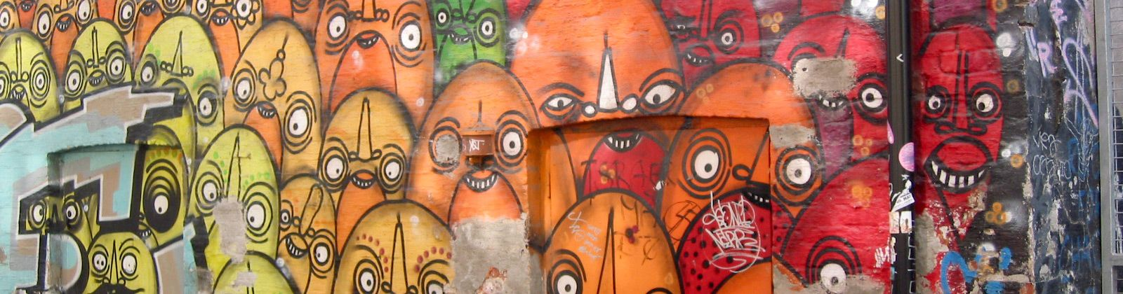 Mural of cartoon faces